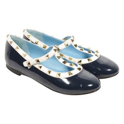 Ballerine blu scuro in vernice con borchie