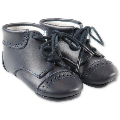 Tartine & Chocolat blue leather prewalker shoes with laces