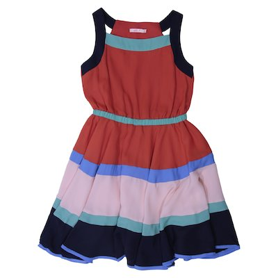 Color block viscose georgette dress