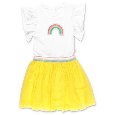 BillieBlush white & yellow stretch tulle and jersey dress