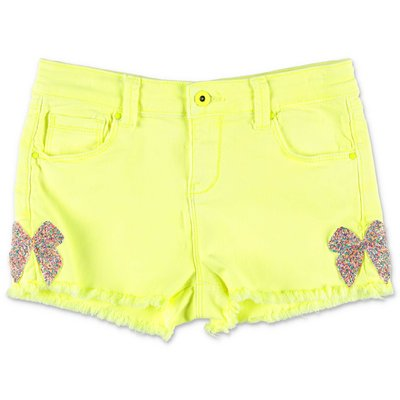 BillieBlush fluo yellow stretch denim cotton shorts
