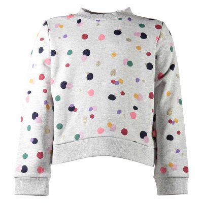 Melange grey polka dots cotton sweatshirt