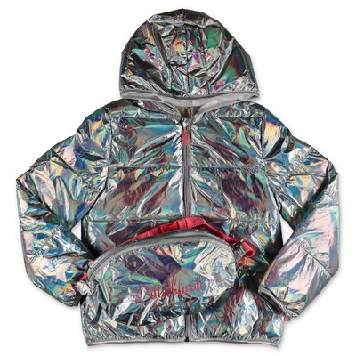 BillieBlush iridescent nylon metallic effect down jacket with hood and belt bag