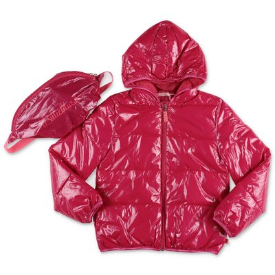 BillieBlush fuchsia nylon down jacket with hood