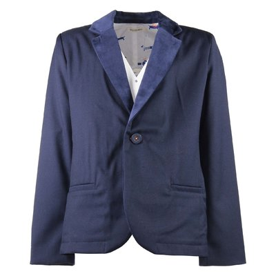 Navy blue jacket with velvet detail