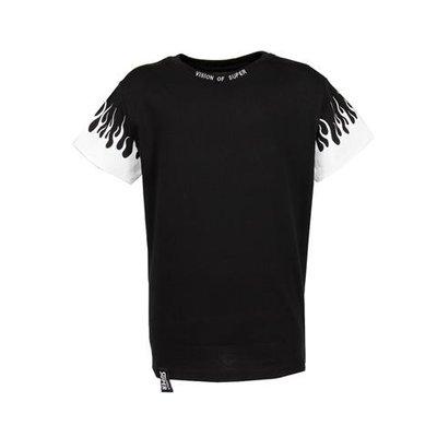 T-shirt nera in jersey di cotone