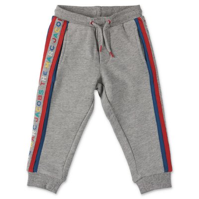 Little Marc Jacobs logo melange grey cotton sweatpants