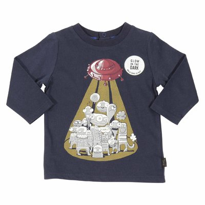 Little Marc Jacobs navy blue cotton jersey baby boy t-shirt<br>Ribbed collar<br>Long sleeves