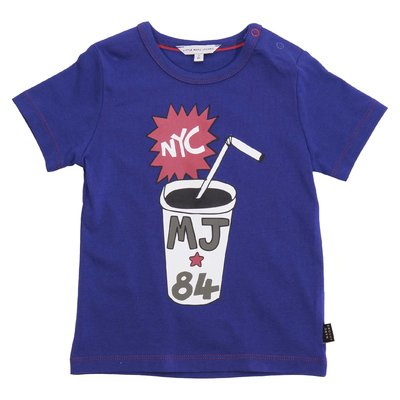 Little Marc Jacobs t-shirt blu in jersey di cotone con stampa