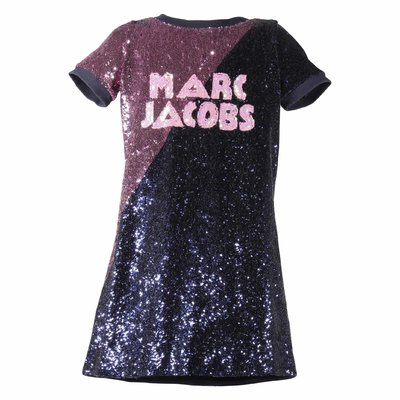 Color block sequined techno dress