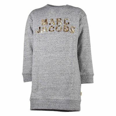 Abito grigio melange in felpa di cotone con logo decorato