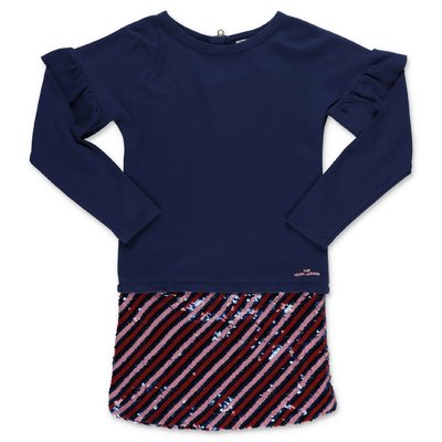 Little Marc Jacobs navy blue cotton jersey two piece effect dress