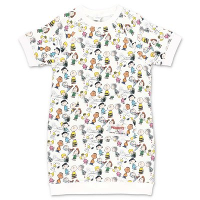 Little Marc Jacobs Peanuts printed white cotton sweatshirt dress