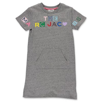 Little Marc Jacobs melange grey cotton sweatshirt dress