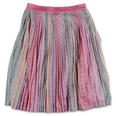 Little Marc Jacobs multicolor techno fabric pleated metal skirt