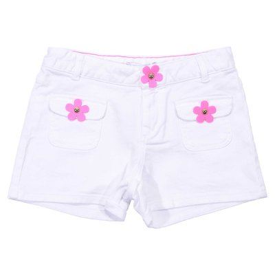 White denim cotton shorts