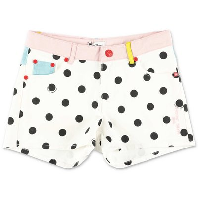 Little Marc Jacobs polka dots white stretch denim cotton shorts