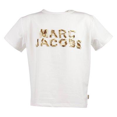 T-shirt bianca in misto cotone con logo