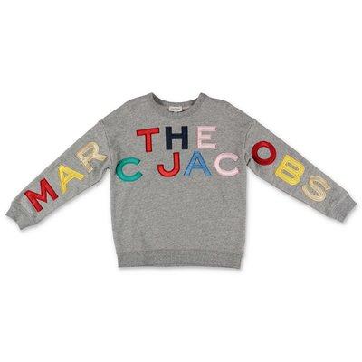 Little Marc Jacobs felpa grigio melange in cotone
