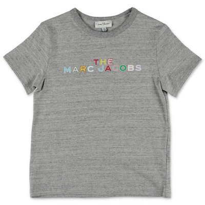 Little Marc Jacobs t-shirt grigio melange in jersey di cotone
