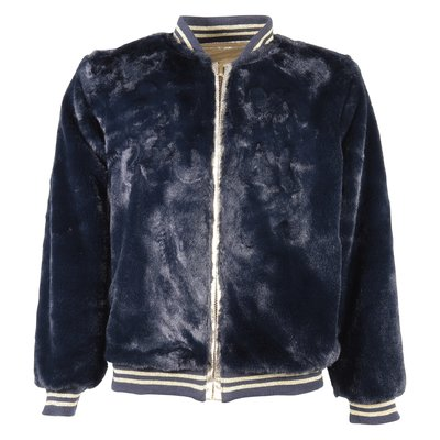 reversible metallic logo bomber jacket