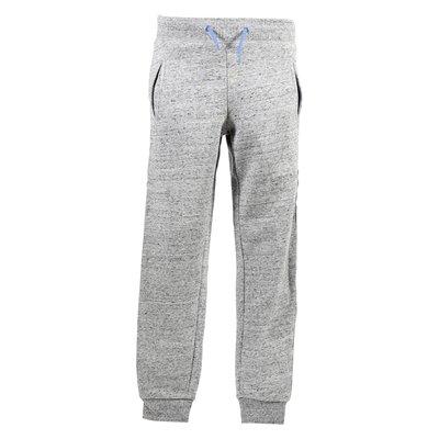 Pantaloni grigio melange in felpa di cotone con logo