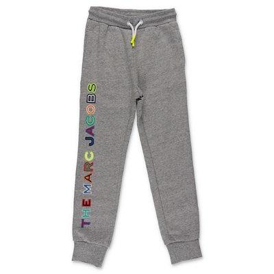 Little Marc Jacobs pantaloni grigio melange in felpa di cotone