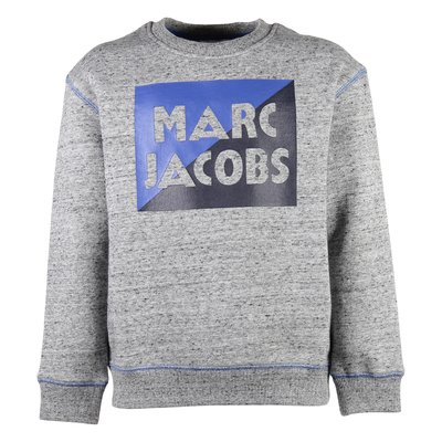 marled grey logo detail cotton blend sweater