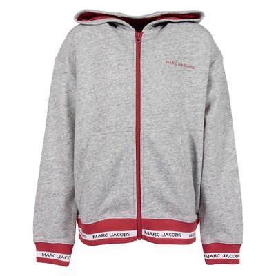 Melange grey cotton zip-up hoodie