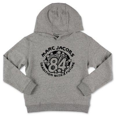 Little Marc Jacobs felpa grigio melange in cotone con cappuccio