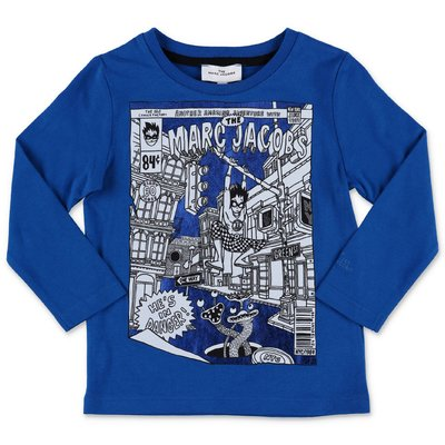 Little Marc Jacobs t-shirt blu royal in jersey di cotone