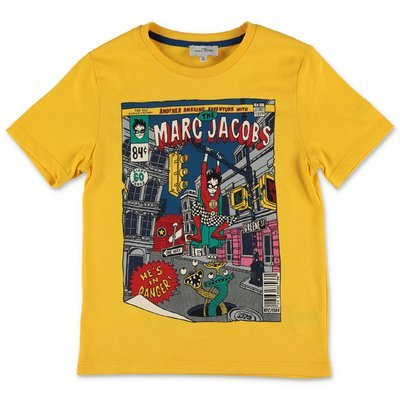Little Marc Jacobs t-shirt gialla in jersey di cotone
