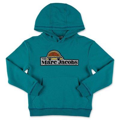 Little Marc Jacobs felpa verde ottanio in cotone con logo e cappuccio