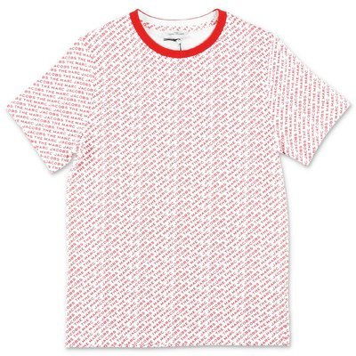 Little Marc Jacobs t-shirt bianca e rossa in jersey di cotone