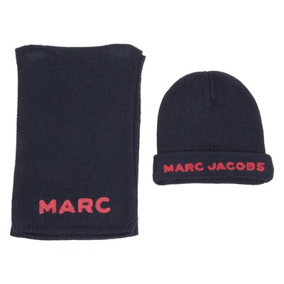 Little marc jacobs wool and cashmere logo knitted hat and scarf set