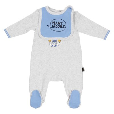 Grey & light blue two piece set with romper and bib