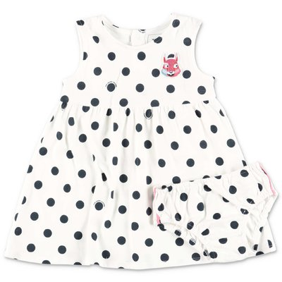 Little Marc Jacobs white polka dots cotton jersey dress & diaper cover