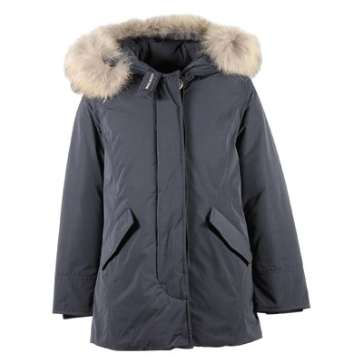 Blue nylon fur edge hood jacket