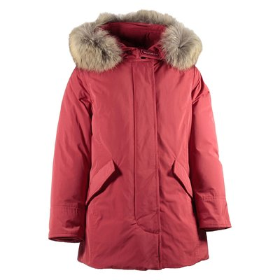 Red nylon jacket with fur edge hood
