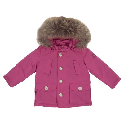 Fuchsia nylon down jacket with fur edge