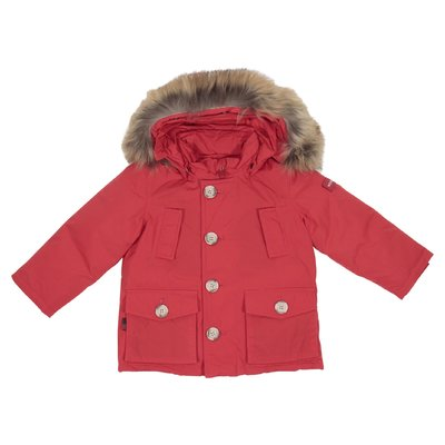 Red nylon down jacket with fur edge