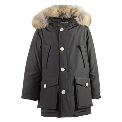 Black nylon fur edge hood jacket
