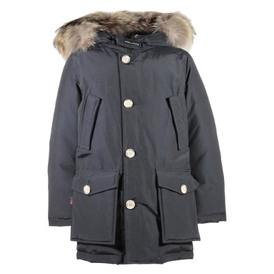 Dark blue nylon fur edge hood jacket