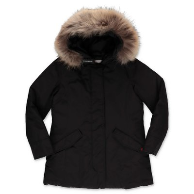 Woolrich giubbino nero in nylon cappuccio con bordo in pelliccia