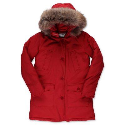Woolrich giubbino rosso in nylon cappuccio con bordo in pelliccia