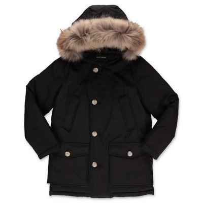Woolrich black nylon down feather jacket with fur edge hood