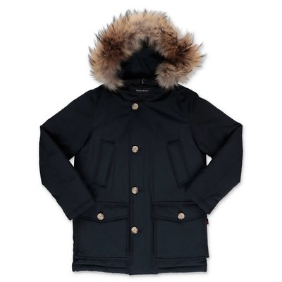 Woolrich navy blue nylon down feather jacket with fur edge hood
