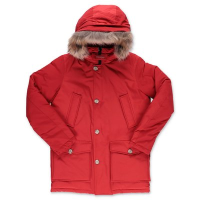 Woolrich red nylon down feather jacket with fur edge hood