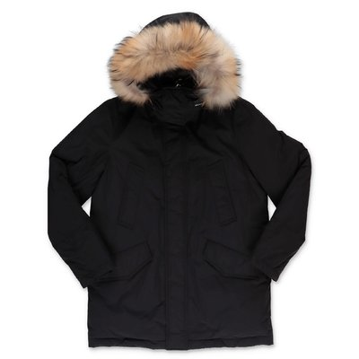 Woolrich black nylon padded jacket with hood