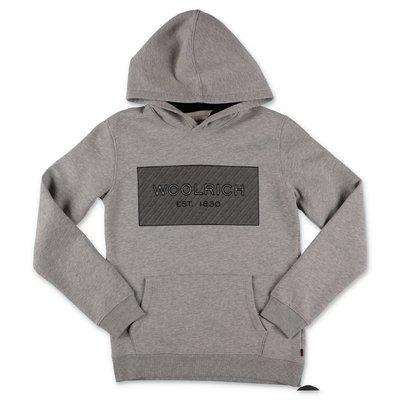 Woolrich felpa grigio melange in cotone con cappuccio
